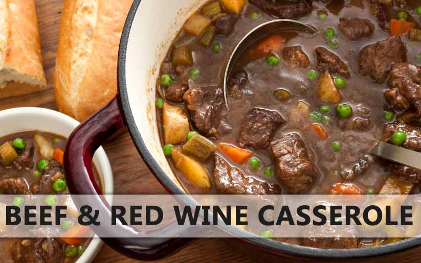 Beef and red wine casserole